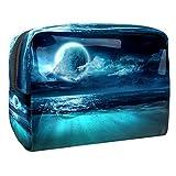 TIZORAX - Bolsa de maquillaje de PVC para mujer, diseño de luna llena y subacuática