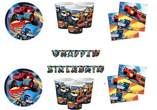 Little Flight Blaze Le Mega Machines Decoraciones coordinadas Fiesta Mesa Tema Blaze para 8 niños Kit (8 Platos, 8 Vasos, 20 servilletas, 1 Guirnalda)