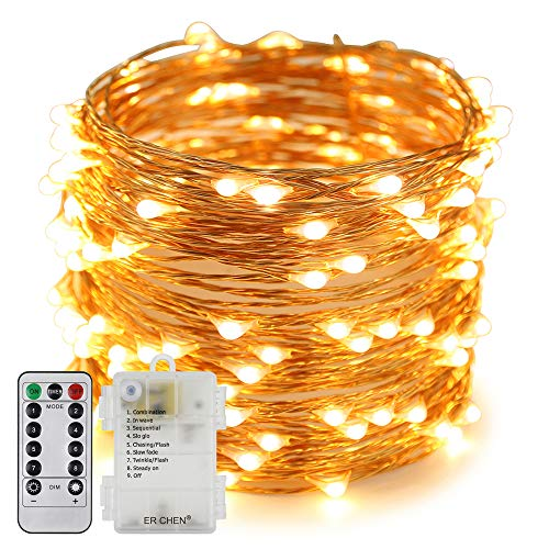 Erchen Battery Operated LED String Lights, Dimmable 66 FT 200 LED Ultra Thin Waterproof 8 Modes Timer Copper Wire Fairy Lights with 13 Key Remote for Indoor Outdoor Christmas Party (Warm White)