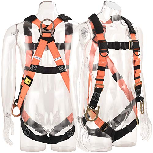 Pack of 4 Small//Large Guardian Fall Protection 1705 Velocity Economy Harness with 3 D Rings Pass Thru Chest and Tongue Buckle Legs