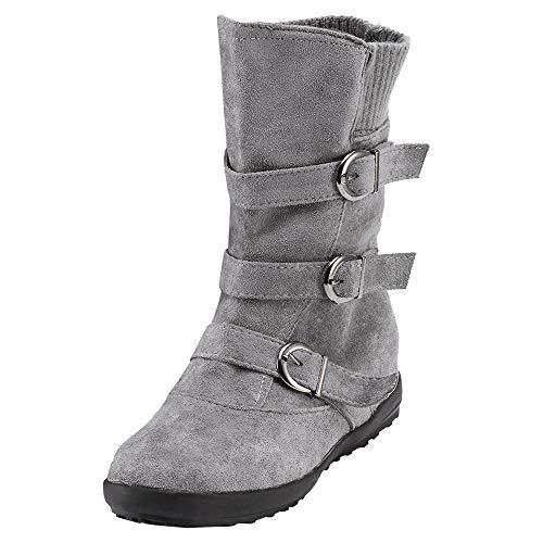 Damen Flach Schuhe SHOBDW Frauen Wildleder runde Kappe Reißverschluss Flache Reine Farbe Schnalle halten warme Schneeschuhe Klassisch Simplicity Solid