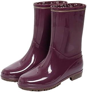 Rain Boots Female Adult Tube Fashion Boots Summer Rubber Shoes Non-Slip Water Shoes Shoes (Color : Purple, Size : EU39/UK6.5/CN40)