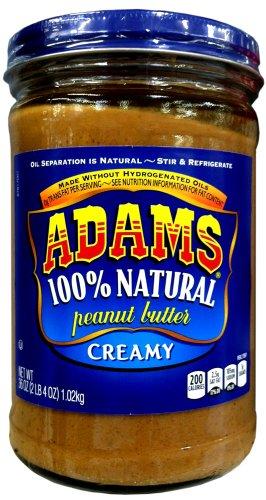 Adams 100% Natural CREAMY PEANUT BUTTER 36oz (6 Pack)