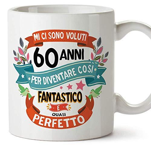 MUGFFINS Tazza Compleanno 60 Anni - Idee Regali Originali et Divertenti per Uomo e Donna - per lui/per lei. Ceramica 350 mL