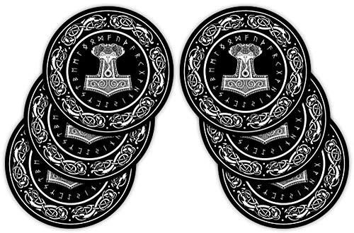 empireposter Thor Hammer - 6er Set Untersetzer - 6 Coaster im Set - Größe Ø 9,5 cm
