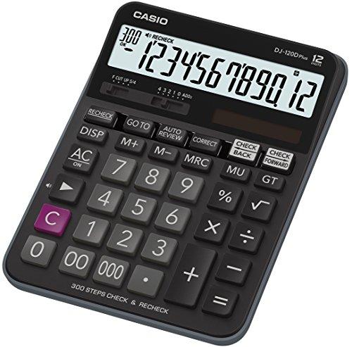 CASIO Tischrechner DJ-120DPLUS, 12-stellig, Gesamtsummen-Speicher, Rundungseinstellung, Solar-/Batteriebetrieb