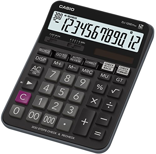Casio DJ-120DPLUS - Calculadora de sobremesa, pantalla LC extra grande, 34.6 x 144 x 192 mm, negra
