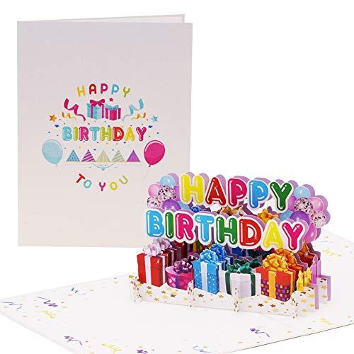 Happy Birthday Geburtstagskarte fröhlich, bunt | Pop up Karte Geburtstag mit 3D Luftballons, Geschenke | Glückwunschkarte oder Gutschein zum Geburtstag, G24