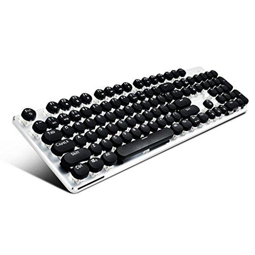 2. Generation Steampunk Runde Keycap USB-Kabel 104 Key Mechanische Tastatur, Ergonomic Office Eingabe Home Programmer Gaming Keyboard (Color : Black)