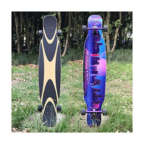 SjYsXm Longboard Skateboard, 47 Pulgadas, 5 Capas de Arce Canadiense y 2 Capas de Longboard de bambú carbonizado para niños, niñas, jóvenes, Principiantes