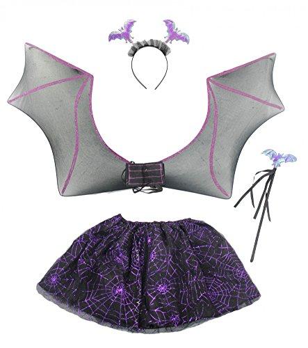 Fledermaus Kostüm für Kinder - Flügel, Tutu, Haarreif, Zepter - Halloween Horror Karneval Fasching Kostüme Mädchen lila schwarz