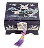 Fun-Store Nacre Inlay Mother of Pearl Music Jewellery Storage Chest Wooden Box Crane with Pin Tree Design Jewelry Mirror Box Keepsake Treasure Gift Box Trinket Case Organizer (Purple)