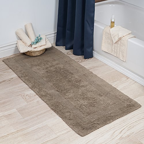 Cotton Bath Mat- Plush 100 Percent Cotton 24x60 Long Bathroom Runner- Reversible, Soft, Absorbent, and Machine Washable Rug by Lavish Home (Taupe)