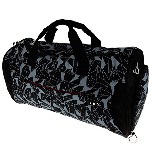 Baoblaze Bolsa de Deporte Impermeable para Gimnasio Colchoneta de Yoga de Tela Mochila de Viaje 50 x 25 x 26 cm, 6 Colores Opcionales - Gris geométrico
