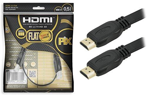 Cabo Hdmi 2.0 4K Hdr 19P 0.5M Pix Flat Gold, Preto