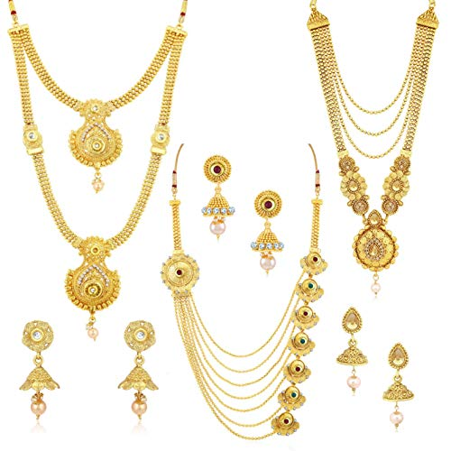 Sukkhi Ethnic Gold Plated Wedding Jewellery Kundan Multi-String Set of 3 Necklace...