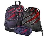 Juego de mochila escolar, 3 piezas, mochila escolar a partir de 3ª clase, mochila con correa para el pecho, mochila ergonómica, Volcano 3, Juego de bolsos escolares