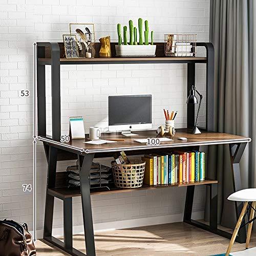 KaminHome - Mesa Escritorio despacho Justine con estantería Oficina hogar Ordenador PC portátil Trabajo Estudio Estilo nórdico escandinavo Moderno (Marrón Oscuro/Negro (100 cm x 127 cm x 50 cm))