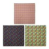 ABAKUHAUS Pack de 3 Bandanas Unisex, Resumen de rayas a cuadros Triángulo del Arte Formas revoltijo Pincel, Multicolor