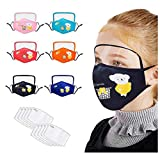Uhoney 6 PC Cotton Dustproof Face Protective with Eyes Shield + 12 Filters for Childen Kids, Anti-Haze Dust Reusable Mouth Cover for Outdoor Activities, Full Face Protection Black