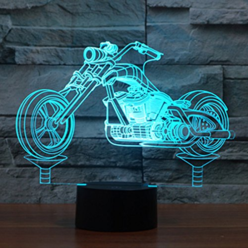 Motorrad 3D Illusion Lampe LED Nachtlicht, USB-Stromversorgung 7 Farben Blinken Berührungsschalter Schlafzimmer Schreibtischlampe für Kinder Weihnachts geschenk