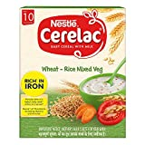 Nestle Cerelac Fortified Baby Cereal with Milk - Wheat, Rice & Mixed Veg, 300g BIB Pack (From 10...