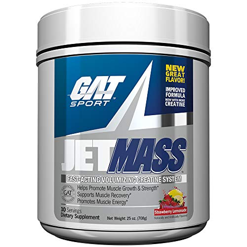 GAT Sport JetMass Fast-Acting Volumizing Creatine System, Strawberry Lemonade, 30 Servings