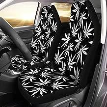 Semtomn Front Car Seat Covers Set of 2 Leaf Rasta Color Marijuana Black Pattern White Addiction Cannabis Fit Most Vehicle, Cars, Truck, SUV, Van