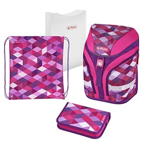 Herlitz Schoolbag Set, Pink Cubes
