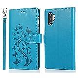 Miagon Cerniera Custodia per Huawei P30 PRO,Magnetico Chiusura Portafoglio Tasca Porta Carte Farfalla Fiore Goffratura PU Pelle Caso Flip Case Cinturino,Blu
