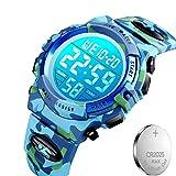 キッズ腕時計 子供用腕時計 50メートル防水 LED 多機能 デジタル表示 迷彩 ミリタリー風 男の子 女の子 アウトドア ウォッチ  予備用電池付属