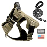 PINA Tactical Dog Harness for Large Dogs, No Pull Service Dog Vest Harness for Training Hunting Walking, Dog Military Harness Molle Vest with Patches - Khaki / L