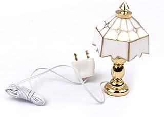 F Fityle Lámpara De Mesa En Miniatura 1/12 Modelo De Luz con Conector Decoración De La Habitación De Casa De Muñecas
