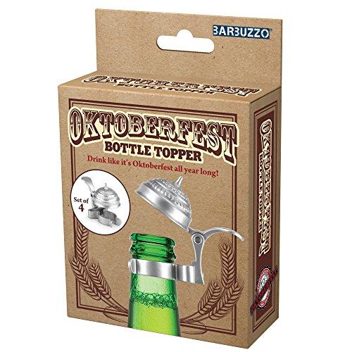 Barbuzzo Oktoberfest Bierkrug-Aufsätze (4er Set) – passt auf jede handelsübliche Bier- oder Limonadenflasche