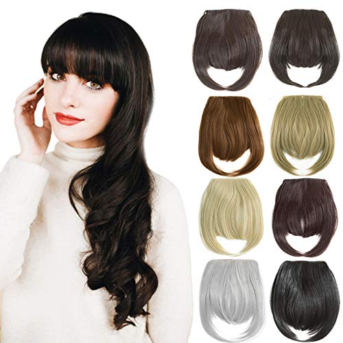 Felendy Clip in Bangs Fringe Front Neat Straight Hairpiece One Piece Clip-on Hair Extensions with Temples Cute Dark Brown