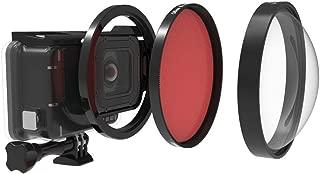 QKOO Professional Dive Lens Kit for GoPro Hero 7 Black/Hero (2018)/6 Black/5 Black Original Waterproof Super Suit Housing Case - 58mm HD Macro Lens Close-Up 24X Filter +Diving Red Filter +Adapter Ring