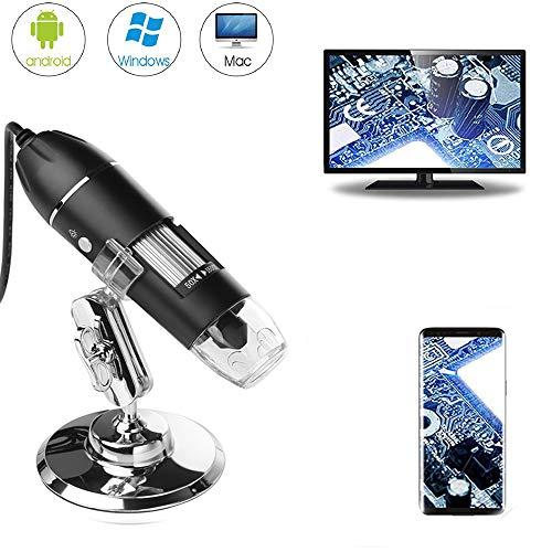 USB-Digital-Mikroskop, 50 x bis 1600 x 8 LEDs, tragbare Taschen-Handvergrößerung, Endoskop-Kamera mit Ständer für Kinder, Studenten, kompatibel mit Android OTG-Handy, Windows 7, 8, 10, Linux, Mac
