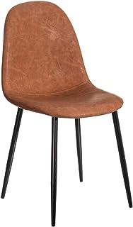 Silla de Comedor marrón tapizada de Polipiel y Metal de 44x44x88 cm - LOLAhome