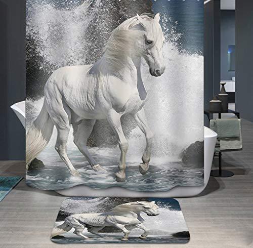 Ommda Duschvorhang Textil Wasserdicht Tier Digitaldruck Duschvorhang Anti-schimmel Waschbar mit 12 Duschvorhang Ring (Keine Matten) Pferd 80x200cm