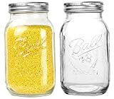 Bedoo Regular Mouth Mason Jars 32 oz-2 Pack Glass Canning Storage Jars with Silver Metal Airtight Lids and Bands,Clear Quart Mason Jars for Canning, Preserving,Baby Food,DIY Projects,Jam,Jelly