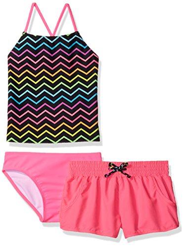 Freestyle Big Girls' Bright Chevron Short Swim Set, Pink, 10