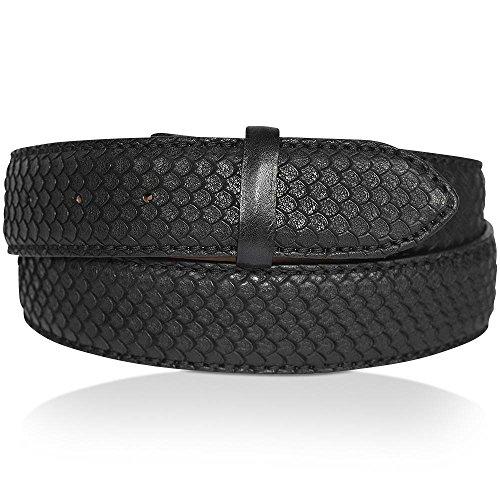 REPTILES HOUSE Gürtelband Leder, Schlangenprägung, Schwarz, Breite: 4 cm, 85 cm