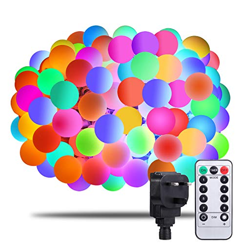 Globe Fairy Lights -[Remote & Timer] Afufu 33ft/13M 100 LEDs Coloured String Lights with Mains Powered, RGB IP65 Waterproof 8 Modes Balls Lights Decorative for Garden Patio Party Wedding, Extendable