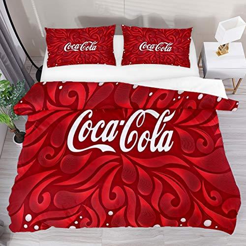 Set copripiumino matrimoniale Coca Cola rosso 3 pezzi copripiumino copripiumino copripiumino copripiumino 1 federe 1 copripiumino 1 copripiumino
