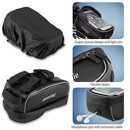 Hommie Wasserdicht Fahrradlenkertasche, Handyhalterung, Fahrrad Tasche, Handyhalter mit Kopfhörerloch, Fahrradtasche, Rahmentaschen für Handy GPS Navi und andere Edge bis zu 6 Zoll Geräte, Schwarz - 3