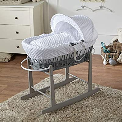 FYLO White Dimple Grey Wicker Moses Basket with Grey Rocking Stand