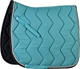 Equi-Theme/Equit'm Tapis de Selle 204610 , Mixte, 204610, Turquoise/Black Binding/Silvery Braid, Taille Unique
