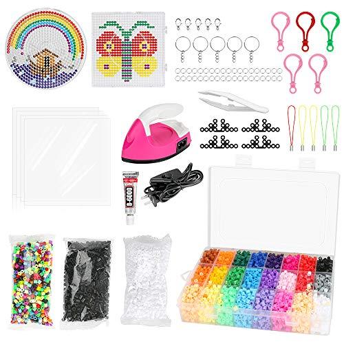 BestCool 24 Farben Fuse Beads Craft Kit, 5mm DIY Art Craft Toys für Kinder mit 2 Steckbrettern, 9200 Fuse Beads für Weihnachten Geburtstagsspielzeug Geschenk für Mädchen Jungen