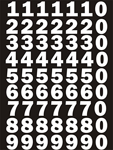das-label Zahlen Design NO.3 (klein) | Weiss Vinyl matt | Selbstklebende gestanzte Zahlen | zum Basteln Scrapbook | Sticker | Aufkleber | zum Beschriften