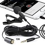 Miracle Sound Deluxe Lavalier - Micrófono de condensador omnidireccional y cable de 10 pies para Apple iPhone, iPad, iPod Touch, Samsung Android y Windows Smartphones
